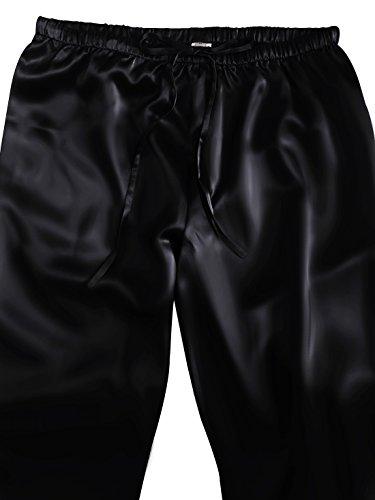 ELLESILK 100% Seide Zweiteilig Schlafanzug für Damen, Seide Pyjama Langarm, 22 Momme Schwarz