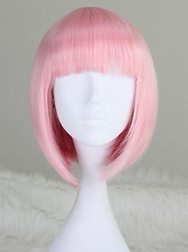 Beauty Smooth Hair Bob Style Women Short Straight Cosplay Pink Full Hair Wigs