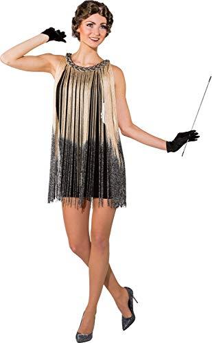 Damen-Kostüm, 1920er-Jahre, goldfarbenes Ombre-Stil, mit Fransen, Flappern, Swing, Tanz, Jazz, Charleston