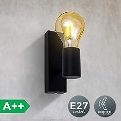 Lampada da parete orientabile in metallo nero, adatta per 1 lampadina E27 non inclusa max. 60W, applique da muro per salotto o sala, faretto stile industriale contemporaneo per entrata o scale IP20