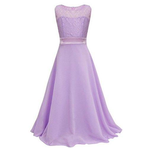 ESHOO Girls Lace Chiffon Wedding Birthday Party Bridesmaid Dress Dance Long Dress Size 4 To 18 Years