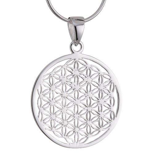 ensblume Blume des Lebens Mandala klein mit Schlangenkette 50 cm Sterling Silber 925 Kette Italien ALB-S50 ()