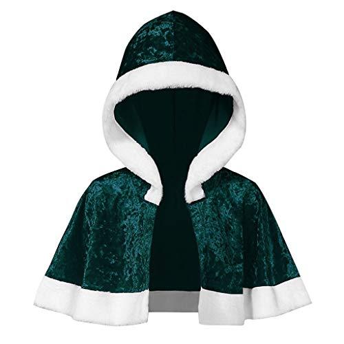 XINAINI Damen Weihnachtsmantel Kapuze Aus Samt - Umhang Weihnachtsmann KostüM Nikolaus Anzug Erwachsenen Santa Claus Cosplay Verkleidung (M,Grün)