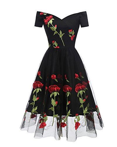 hre Boot Hals bestickt Rose Bandeau Swing Gatsby Prinzessin Ball Kleid plus Größe (36, Schwarz) ()