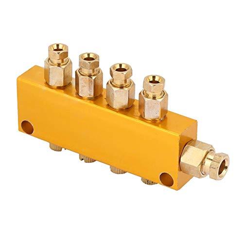 Ölverteiler-Ventil Einstellbarer Messing-Wert-Verteilerblock Schmiede-Maschinen Druckguss-Maschinen Holzbearbeitungsmaschinen Mechanische Ausrüstung (1 inlet 4 outlet)