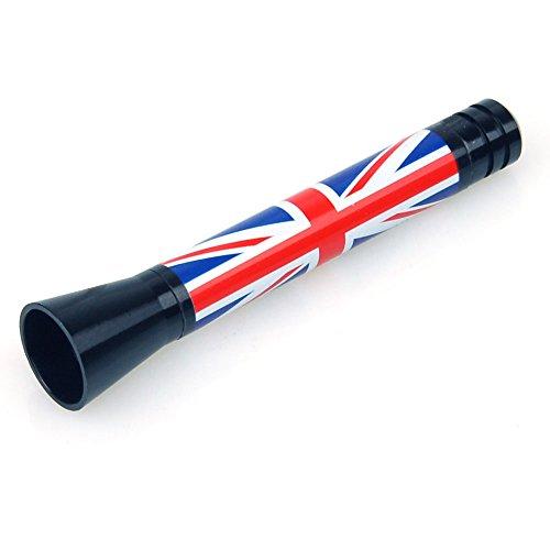 Antenna sportiva per automobili, corta, con motivo della Union Jack (bandiera nazionale del Regno Unito)
