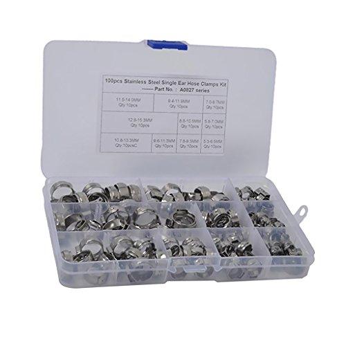 Sharplace Colliers de Tuyau Oreille Simple de Haute Qualité Acier Inoxydable - 100pcs 5.3mm-14mm