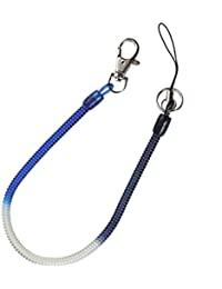Plastic Stretchy Coil Cable Key Chain Strap Blue Clear