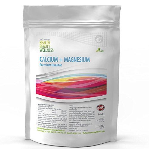 CALCIUM & MAGNESIUM | 500 Tabletten VEGAN + HOCHDOSIERT | Großpackung XL - gegen Müdigkeit, Muskelkrämpfe| Pharmaqualität nach ISO und GMP-Standard produziert | Preishammer