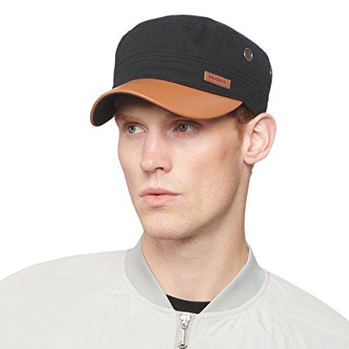 CACUSS Herren Baumwolle Army Kappe Cadet Hat Military Flat Top Verstellbare Baseballmütze einheitsgröße p0066_Schwarz