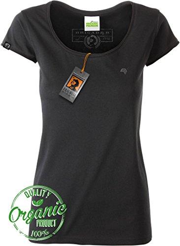 Womens Organic Jersey T-shirt (BRIGADEER Jan 8001 Damen Bio-Baumwolle Basic T-Shirt mit Rollsaum-Ausschnitt, Schwarz Organic Cotton Frauen Girlie Ladies Womens Girls Black Größe S)