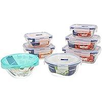 Luminarc Pure Box Active Set 7 recipientes herméticos de Vidrio, Extra Resistentes, Sin BPA, Válvula para microondas, 0,38 + 0,76 + 0,82 + 0,92 + (2 x1,22) L + 1 ensaladera 17cm