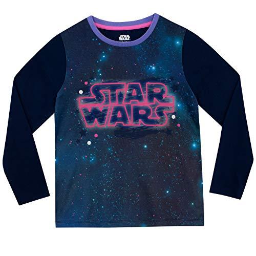 41IrlFK DBL - STAR WARS Pijamas de Manga Larga para niñas La Guerra de Las Galaxias Púrpura 7-8 Años