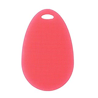AIHOMETM Food Grade Silicone Fruits Apple Cleaning Sponge Brush Wearproof Scrubber for Kitchenware Dishes Cleaning - Red