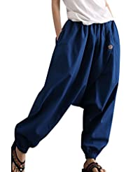 Aivtalk - Pantalones Anchos Holgados Arabe Bombachos Harem Mujeres Unisex Palazzo de Lino Suave para Mujeres Estilo Casual Vida cotidiana Verano - Negro Azul Violeta