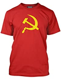 HotScamp Premium Hammer and Sickle CCCP Soviet Mens Red T-Shirt