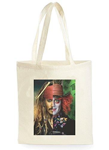 Johnny Depp Jack Sparrow The Mad Hatter Half Face Poster, Bolsa de Compras para ir de Compras, Picnic, Almacenamiento en el Hogar y Escuela, tote bag