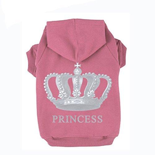 EXPAWLORER Prinzessin Hund Katze Fleece Sweatshirt Hoodies, XXL, Rose