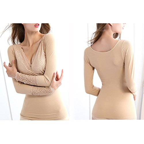 Zhhlaixing Biancheria intima di qualità Breathable Lingerie for Women Constant Temperature Underwear Warm Thin Lace Seamless Underclothes Tops Nude