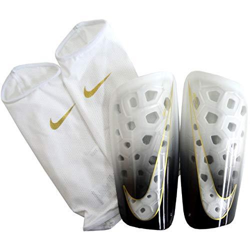 Nike NK MERC LT GRD Shin Guards, White/Black/MTLC Vivid Gold, XS