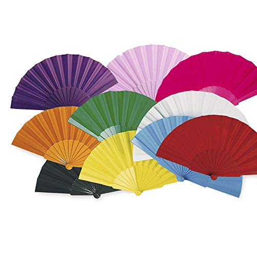 Lote 24 Abanicos de plástico con tela colores surtidos. Abanicos para eventos,...