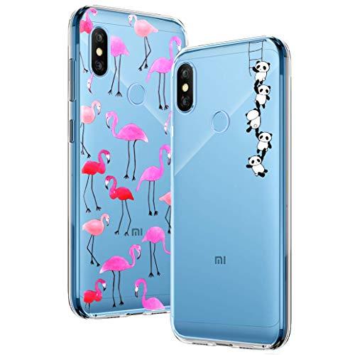 YOOWEI [2-Pack] Funda para Xiaomi Redmi Note 6 Pro, Transparente con Dibujos Ultra Fino Suave TPU Gel Silicona Protector Carcasa para Xiaomi Redmi Note 6 Pro (Pandas y Flamencos Roja)