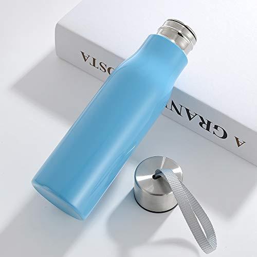 LLYHP Thermos Thermos Outdoor in Acciaio Inox a Strato Singolo Personalizzato con flacone Sportivo monostrato in Acciaio Inox Blu 301-400ml