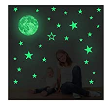 Creative Moon with Stars Halloween Decorations Wall Decals Glow in the Dark I Luminous Light Stickers for Halloween Party Kids Home Room Decor