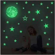 Creative Moon with Stars Halloween Decorations Wall Decals Glow in the Dark I Luminous Light Stickers for Hall
