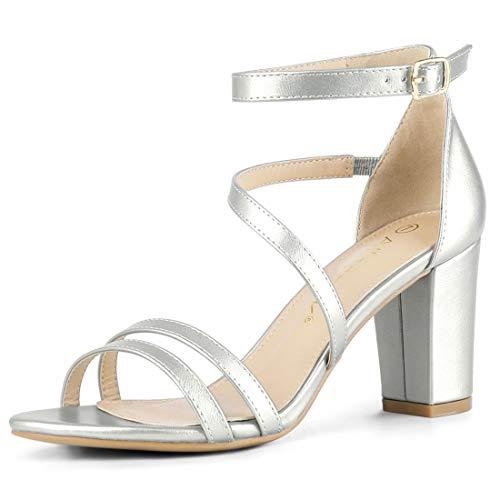 Allegra K Damen Peep Toe Doppelt Strap High Heels Sandalen Silber 37 EU -