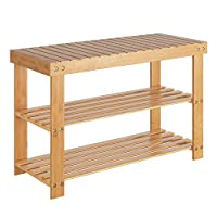 Homfa Bamboo Shoe Rack Shoe Storage 3 Tier Shoe Bench 70x28.5x45cm