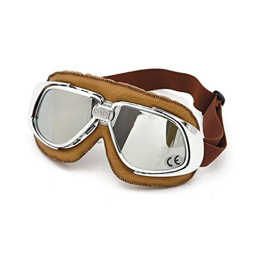 Gafas Castañas Goggle Bandit Aviator Old Classic Style Cristales Con Espejo y Custom Silver Harley Moto