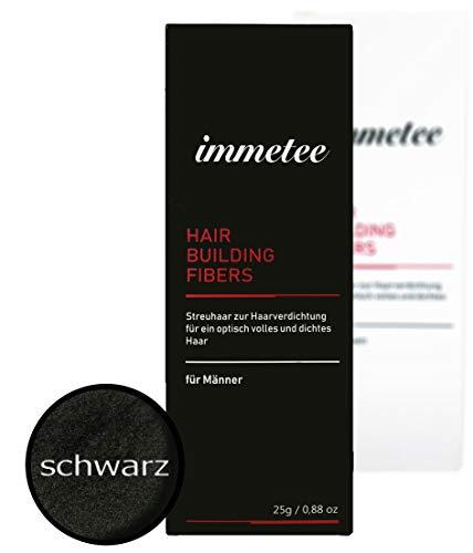 immetee   Schütthaar   Streuhaar   Premium Hair Fiber   Haarverdichtung (für Mann, schwarz)