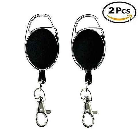Ivencase 2Pcs Portes-clés Durable Enrouleur Longueur 65 cm avec Attache