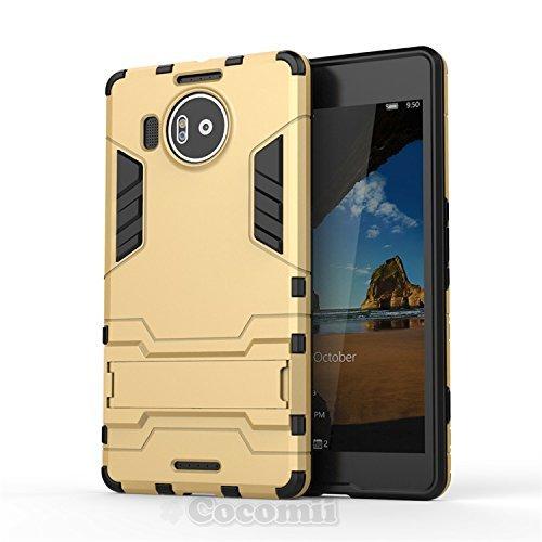 Cocomii Iron Man Armor Microsoft Lumia 950 XL Hülle [Strapazierfähig] Taktisch Griff Ständer Stoßfest Gehäuse [Militärisch Verteidiger] Case Schutzhülle for Microsoft Lumia 950 XL (I.Gold)