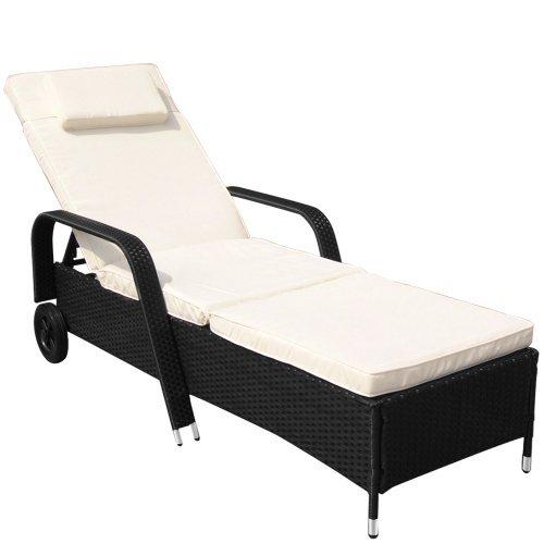 Miadomodo Polyrattan Sun Lounger (ca. 210.5/78/33 cm) Recliner Bed Chair Garden Furniture (Black)