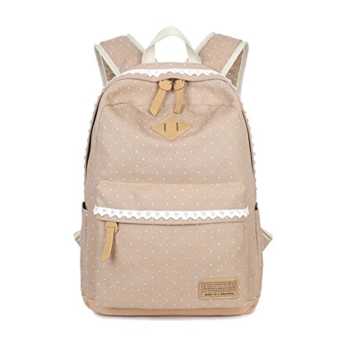 Vintage Polka Dot Sweet Lace Women's And Girl's Backpack School bag travel bag Canvas-Khaki (Canvas Khaki)