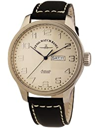 Zeno Watch Basel Pilot Oversized 8554DD-e2 - Reloj de caballero automático, correa de piel color negro