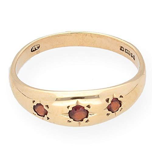 Ring 9 Karat (375) Gelbgold Granat 3 Steine Größe O 1/2 (Ring Ewigkeit Granat Silber)