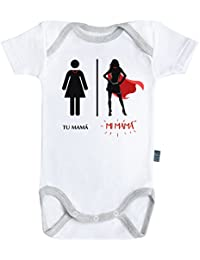 Super mama - Super familia - Body Cebé manga corta - Algdón - Blanco - Costuras