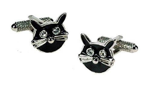 Lucky Cat Noir Boutons de manchette en forme de boîte cadeau-Onyx-Art London CK249