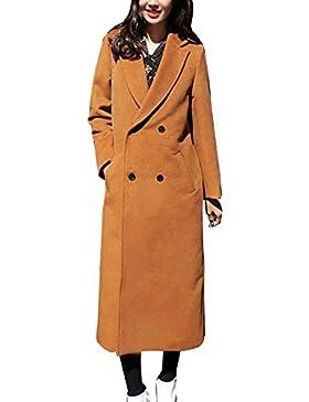 Donna Lungo Cappotto Doppiopetto Manica Lunga Elegante Trench Blazer Giacca Parka Outwear