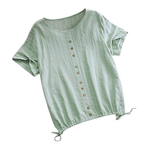 Quadrat Hals T-shirts Tops (Huacat Damen Baumwolle Runde Kragen Kurze Vorderarm Knopf Knopf lose Casual Hals Vintage solide T-Shirt)