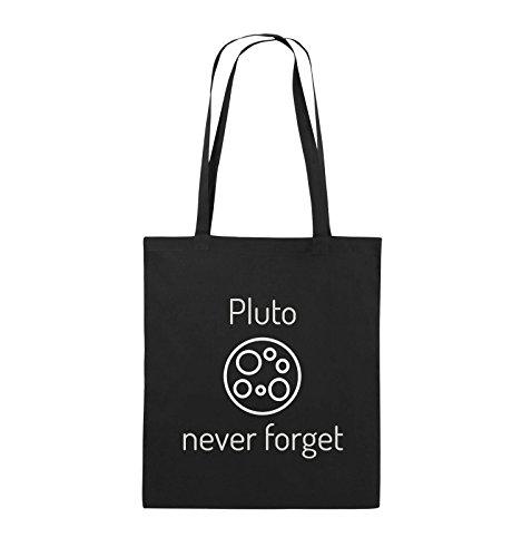Comedy Bags - Pluto never forget - Jutebeutel - lange Henkel - 38x42cm - Farbe: Schwarz / Silber Schwarz / Silber