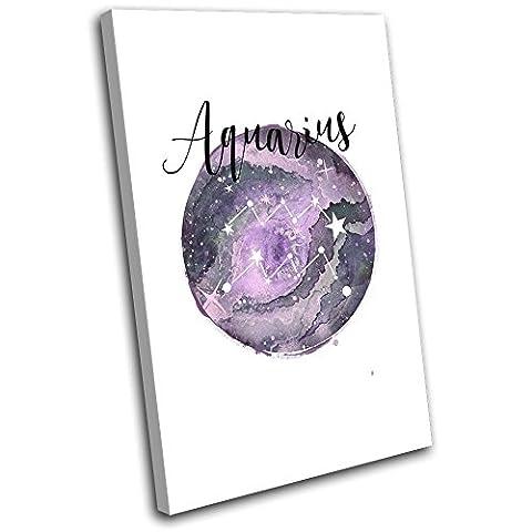 Bold Bloc Design - Constellation Aquarius Star Sign Starsign 135x90cm SINGLE Boite de tirage d'Art toile encadree photo Wall Hanging - a la main dans le UK - encadre et pret a accrocher - Canvas Art Print