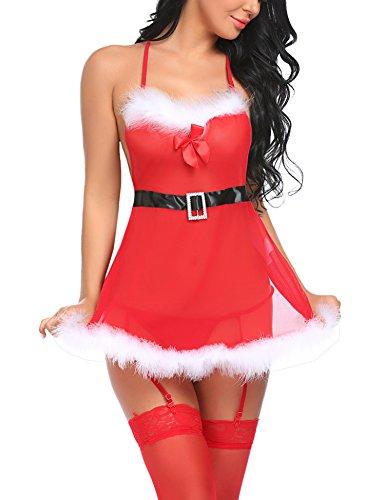 Avidlove Erotic Weihnachten Lingerie Reizwäsche Strapse Dessous Set Weihnachts Negligee Reizvolle Baby dolls Kostüm Xmas Wäsche Unterwäsche Nachtwäsche für Damen mit G-String Strumpfhalter Gürtel