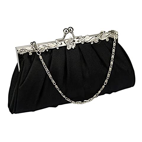 Satin Clutch Bag Evening Pleated Wedding Bridal Party Handbag Prom Bags (Black)