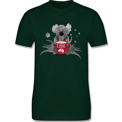 Kontinente - I love Australien Koala - Herren Premium T-Shirt Dunkelgrün