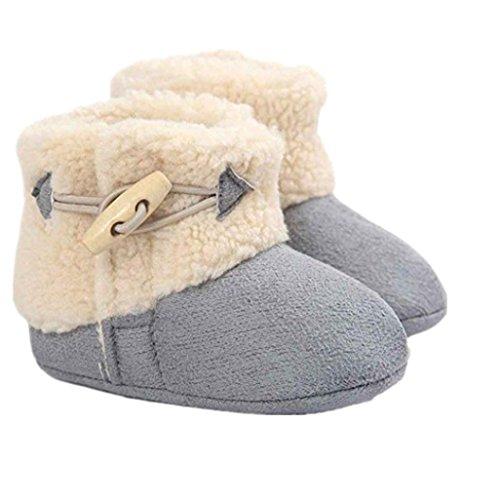 Auxma Baby schönen Herbst Winter warme weiche Sohle Schneeschuhe weiche Krippe Schuhkleinkind Stiefel (12cm(0-6 Monate), Rosa) Grau