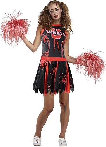 kopf Cheerleader Sport American Zombie Untoter Halloween Horror Unheimlich Kostüm Kleid Outfit - Rot, UK 8-10 ()